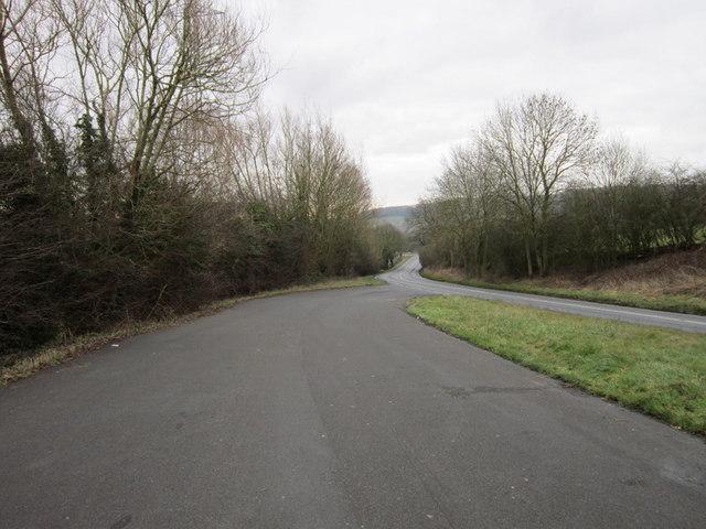 The B4632 towards Winchcombe