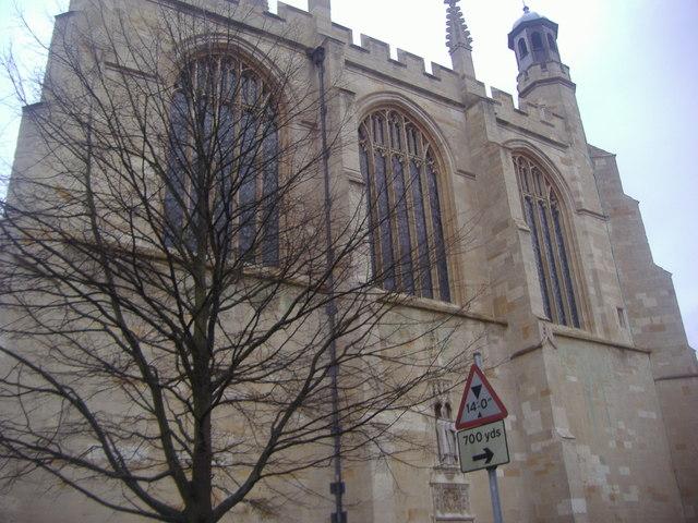 The facade of Eton College church