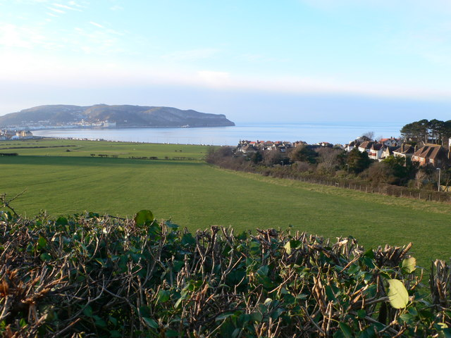 View over fields to Llandudno Bay