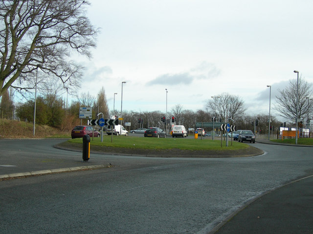 Small roundabout on Delph Lane