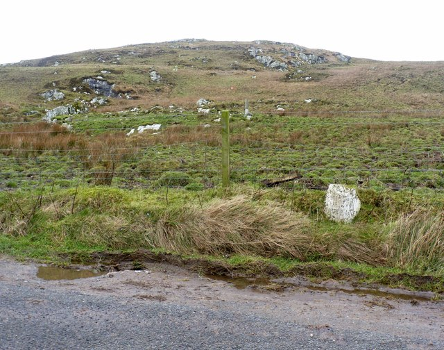 Milestone on A847 south-west of Port Charlotte, Islay