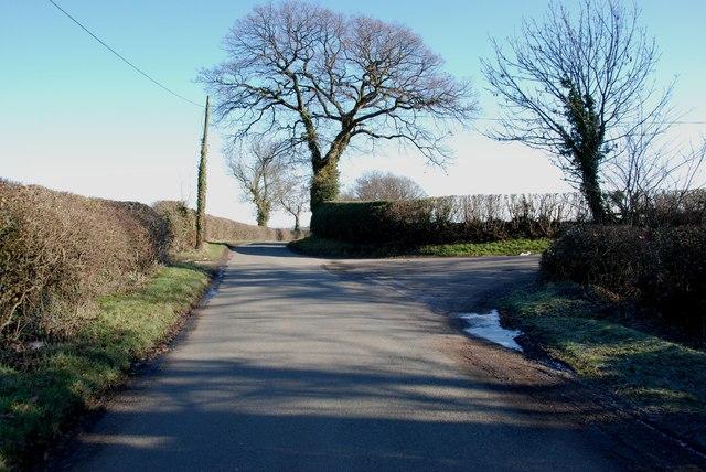 Road junction on Footherley Lane