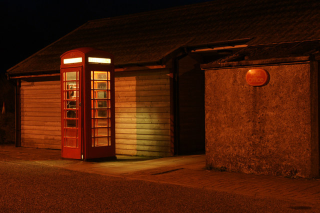 Baltasound Post Office at night