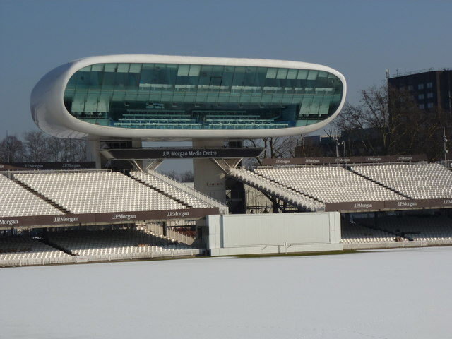 Media Centre and snow, Lord's cricket ground, St John's Wood, London