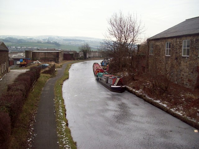 Barges on a Frozen Peak Forest Canal