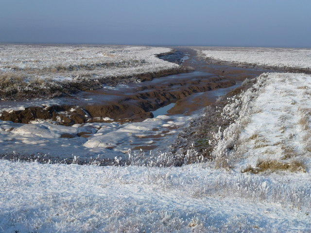 The Wash coast in winter - Black, white and blue