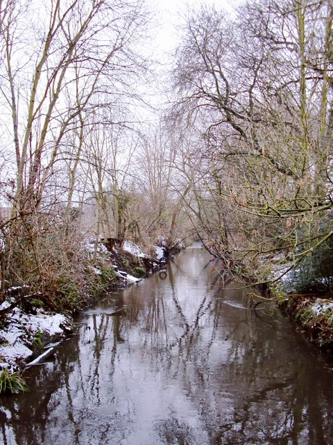 Beverley Brook, Palewell Park, after snow