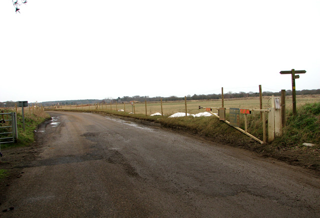 Footpath crossing access road to Waldringfield Quarry