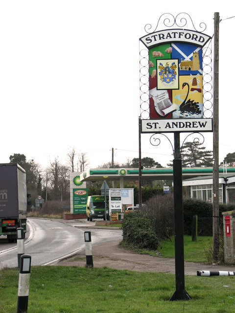 Petrol station on the busy A12 road through Stratford St Andrew