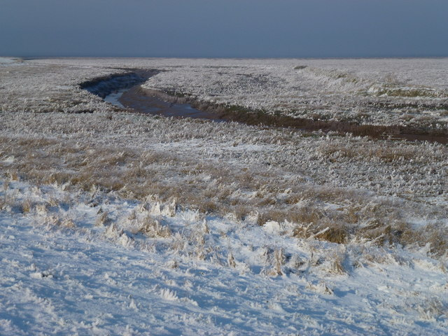 The Wash coast in winter - Tidal creek in the frozen salt marsh