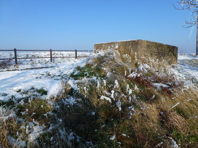 The Wash coast in winter - Pillbox on the sea bank