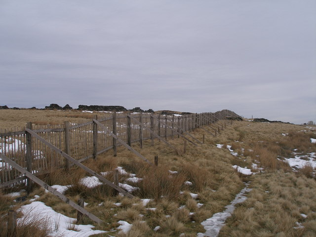 Snow fencing protects the A628 near South Nab