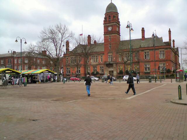 Across the empty Market Ground