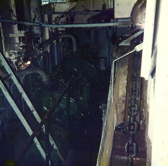 Looking into the engine room of the Renfrew Ferry