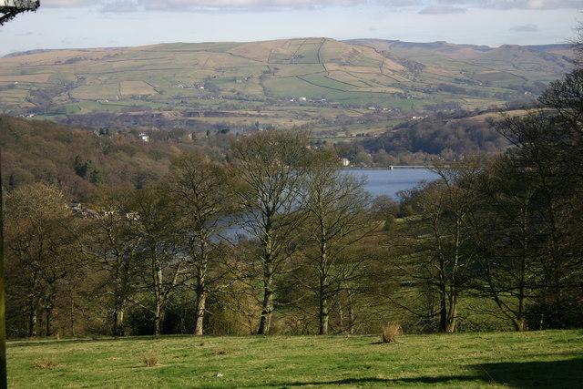 Steep fields to Toddbrook Reservoir