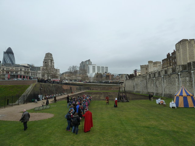 Mediaeval demonstration in the moat at The Tower
