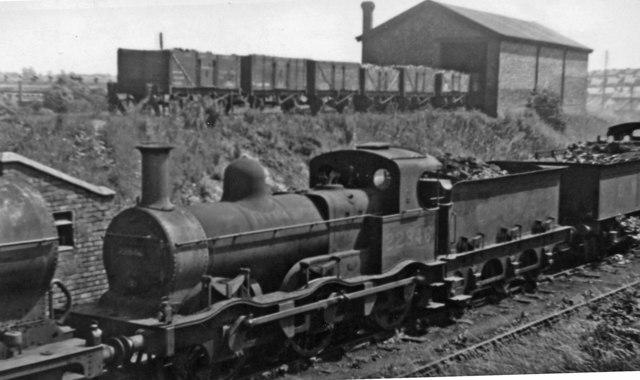 Ancient ex-Midland double-framed 0-6-0 at Bournville Locomotive Depot