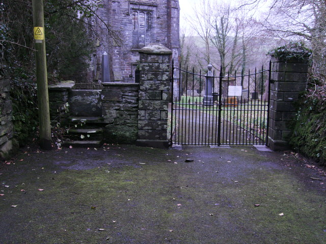 Entrance gates and stile to St. Brynach's Church