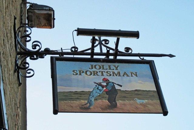 Jolly Sportsman (2) - sign, 2 Lombard Street, Eynsham