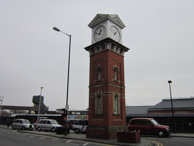 The clock tower at Altrincham bus station