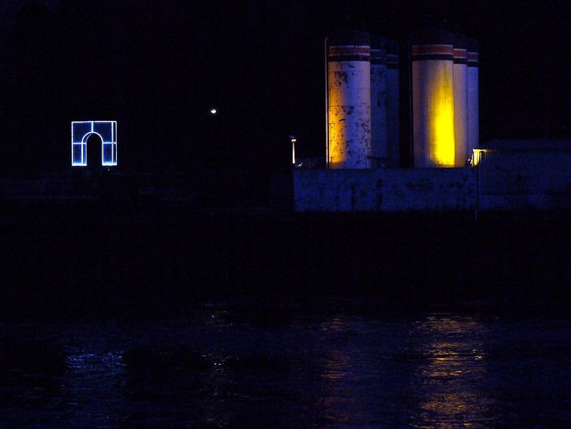 'Rise & Fall' & Brett Oil tanks at night
