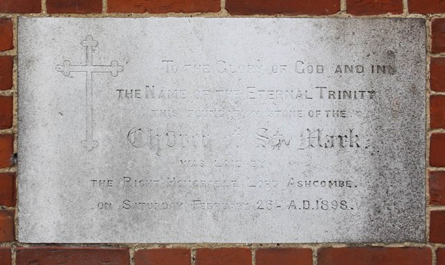St Mark, St Mark's Road, Mitcham - Foundation stone