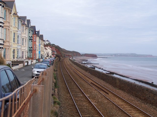 Coastal housing and railway line, Dawlish