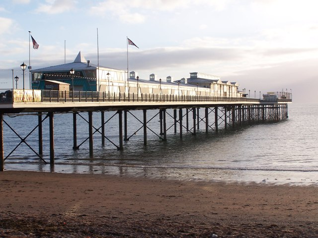 Paignton Pier in early morning sunlight