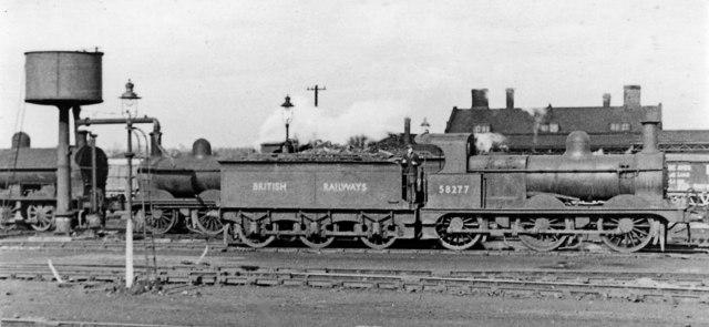 Ex-Midland 2F 0-6-0 at Bescot Locomotive Depot