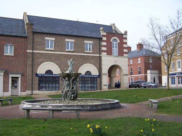 Fountain and commercial premises, Poundbury