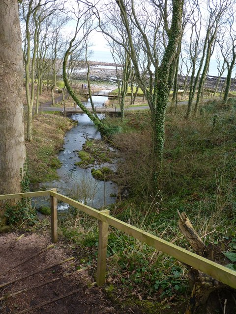 The Cambo burn flowing into the North Sea