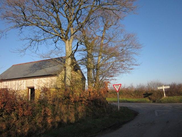 Barn at crossroads