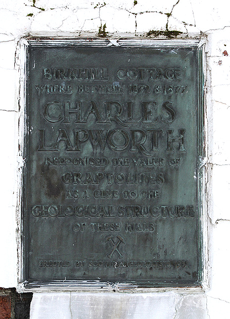 The Charles Lapworth plaque at Birkhill Cottage
