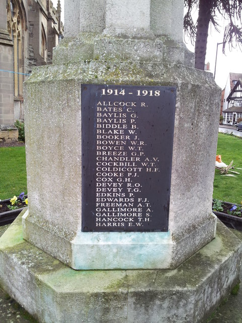 Names on the Alcester War Memorial 1