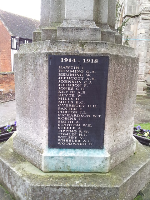 Names on the Alcester War Memorial 2