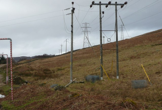 A confusion of electricity poles and pylons