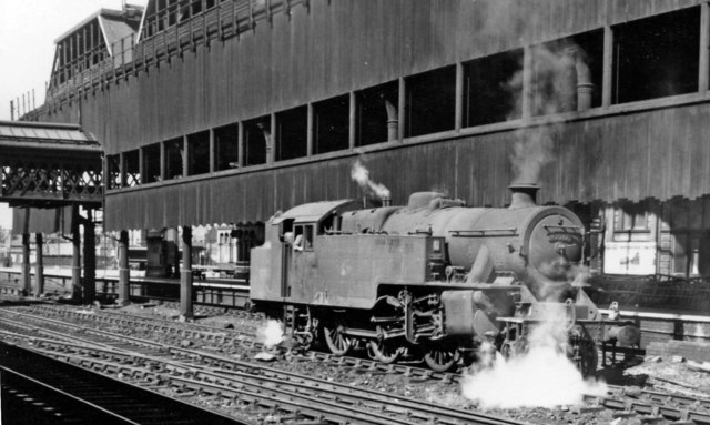 LMS Fairburn 4MT 2-6-4T on banking duty at Manchester Victoria