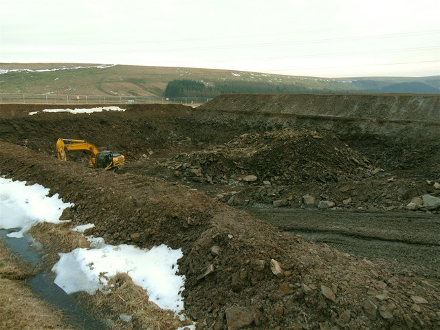 Large pit at site of Betws Mountain Windfarm