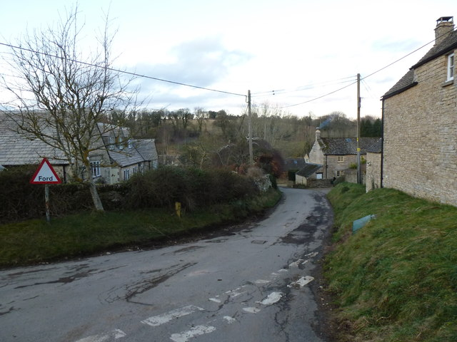 Road to the ford, Duntisbourne Leer
