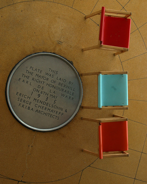 Chairs and commemorative plaque, De La Warr Pavilion