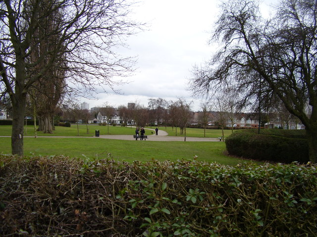 Looking across the park