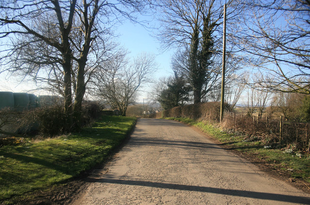 Rural lane looking towards Calow Green