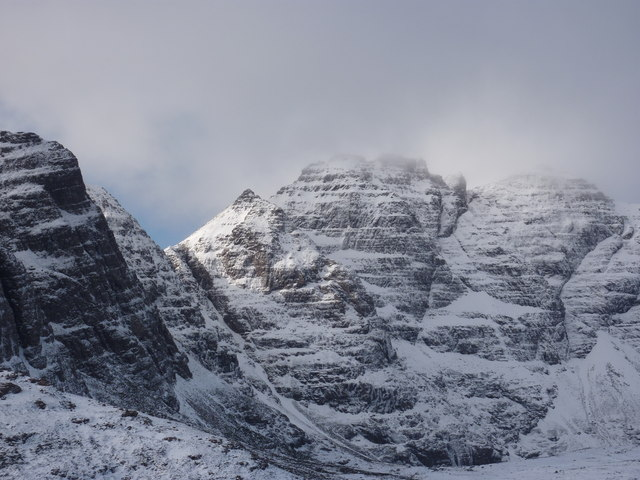 An Teallach - snow and a shaft of sunlight