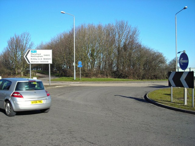 Roundabout and trig point on Annesley Road, Wighay