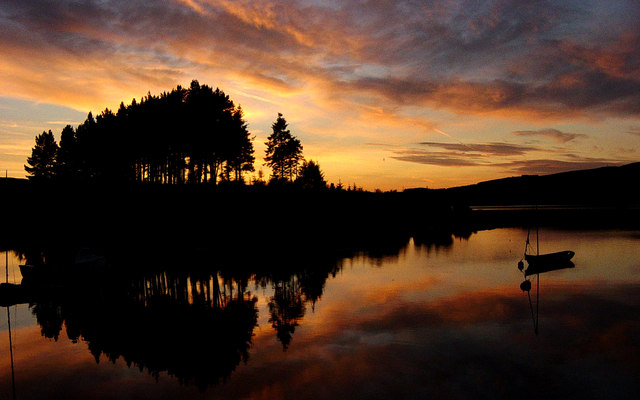 Sunset over Kielder Water