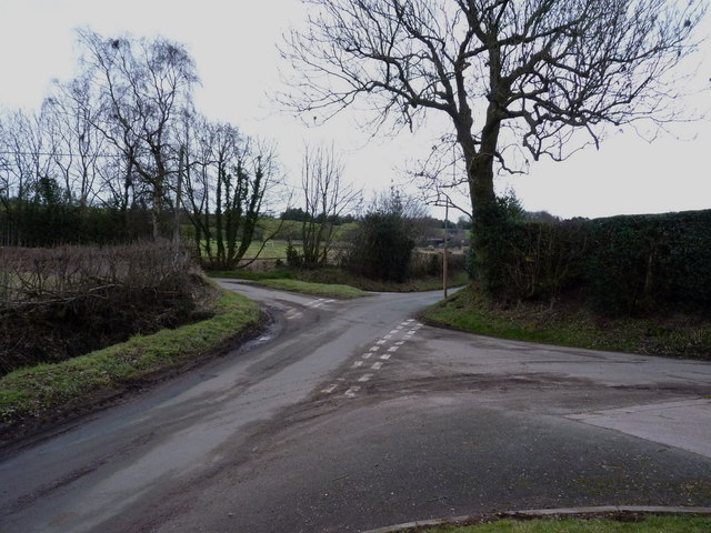 Crossroads of lanes NW of Fulford
