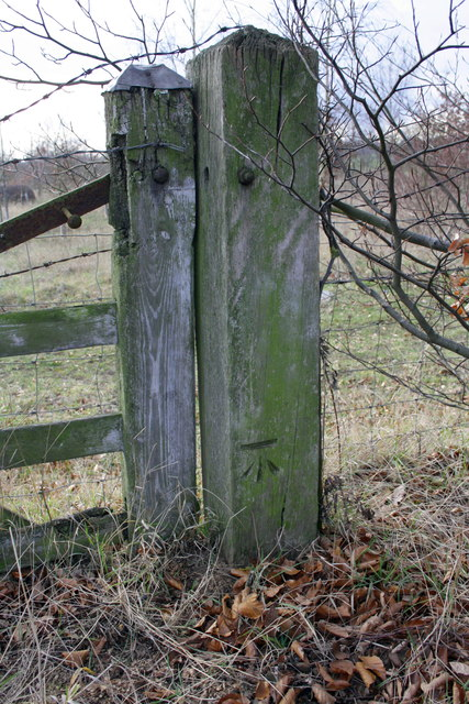 Wooden gatepost on Shillingford Road with benchmark