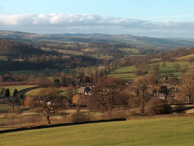 Over the fields to Beeley with Chatsworth Park beyond