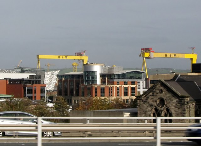New buildings in the Titanic Quarter with the Harland and Wolff cranes in the background