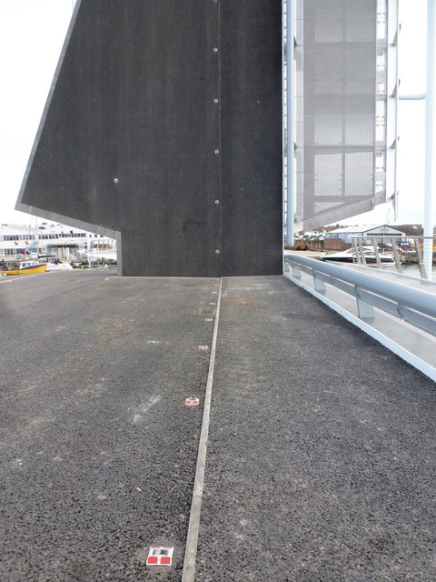 Poole: base of a sail on the Twin Sails Bridge
